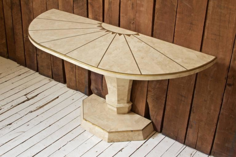 Maitland Smith Demilune Console Table In Travertine And
