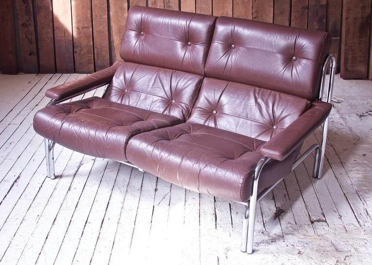 Vintage Pieff Amp Co Quot Alpha Quot Two Seat Sofa In Chrome And